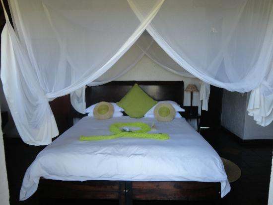Tau Game Lodge: Photo of the beautiful bed before we messed it up
