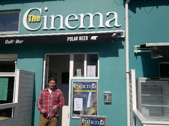 Cinema No. 2 at the Old Harbour Village : Entrance to the cinema, with proprietor