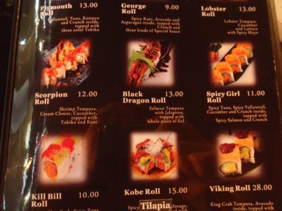 Sushi menu - billedet af Kobe Japanese Restaurant, Plymouth-1630