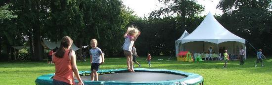 Le Castel: Trampoline and play marquee