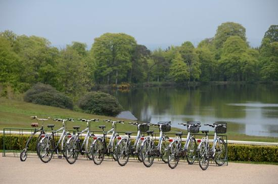 Ballyfin Demesne: bicycles to ride in front of the house by the lake