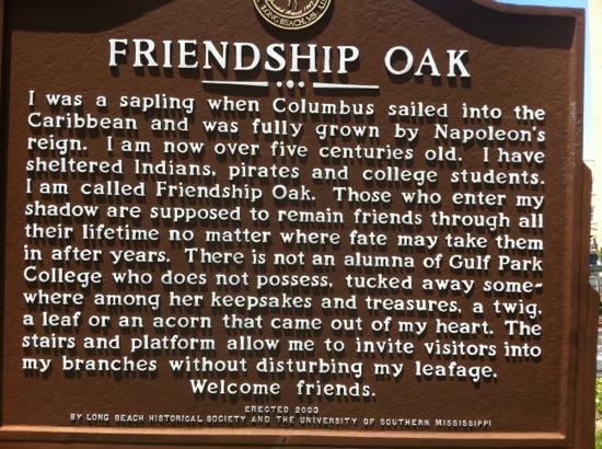 Friendship Oak Sign