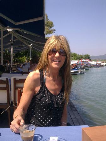 Asena Motel: Me enjoying a coffee near the river