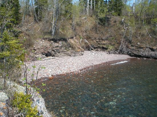Surfside on Lake Superior: The small pebble beach on the north end of the property