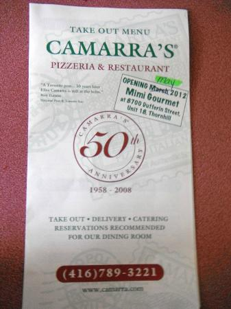 Camarra's Pizzeria & Restaurant: their take out menu