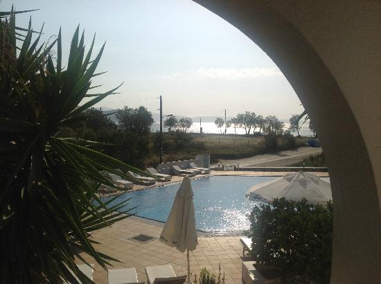 Galaxy Hotel: View from our bedroom of the pool and beach