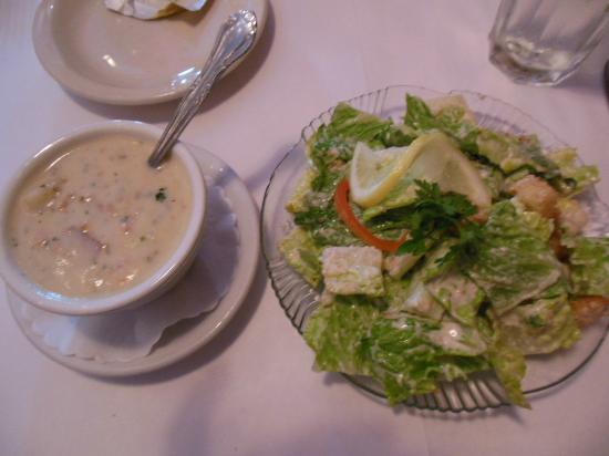 Cirinos At Main Street: Clam Chowder with Caesar Salad
