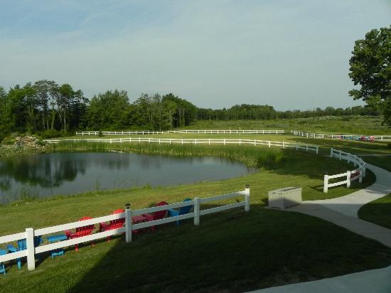 Sun n Sand Resort: Looking west, Lake Michigan is beyond trees