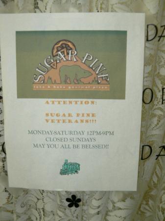 Sugar Pine Pizza : the paper on the door