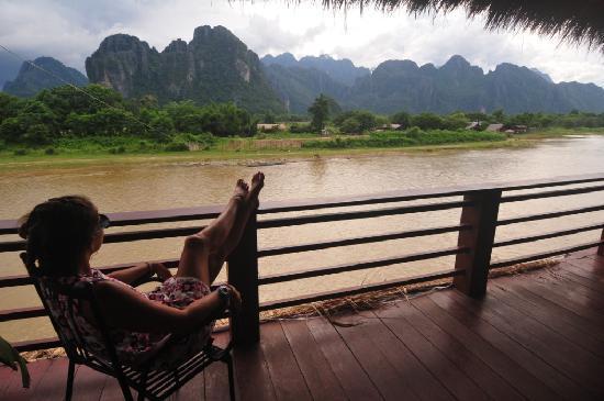 River Spirit: Balcony of the restaurant