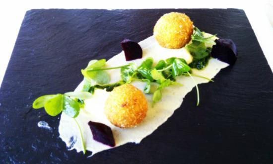 The Jordan Restaurant : Mushroom risotto balls with pancetta infused aubergine