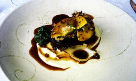 Jordan Restaurant : Slow cooked venison, spinach, humus, ravioli with venison filling