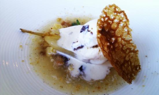 Jordan Restaurant : Desert - pears poached in the vineyards late harvest wine, spiced with cinnamon