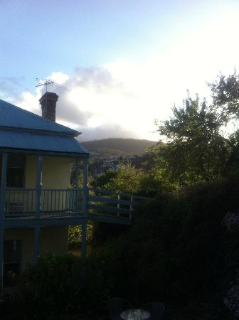 The Lodge on Elizabeth: View of the mountain from the deck of the convict cottage