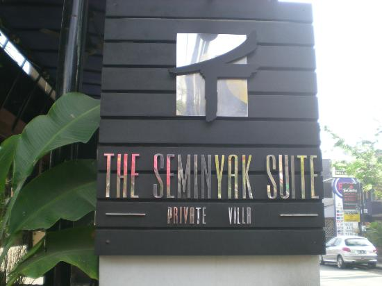 The Seminyak Suite Private Villa: Entrance sign on the Main st