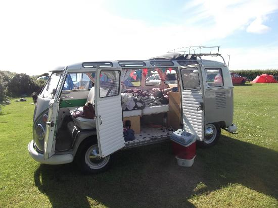 VW Campervan on a pitch at Treen Farm campsite