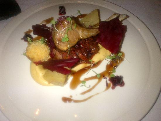 DW 11-13: rack of lamb, braised lamb shoulder,parsnip purée,lyonnaisse potato lamb croquette, roasted beet