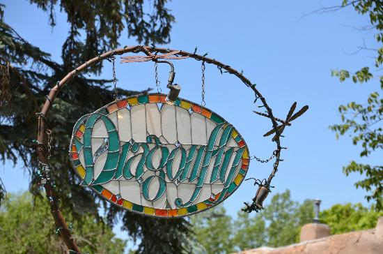 Dragonfly Cafe: Stained glass sign at the street entrance