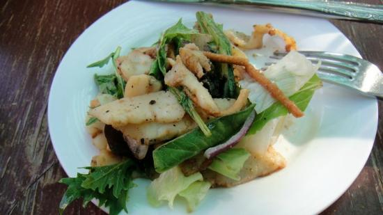 Doce Lunas: First course: Wok-seared calamari over Sonoma greens, plated