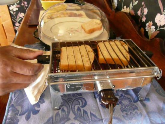 Ferris Mansion Bed and Breakfast: The old fashioned toaster with the homemade bread!