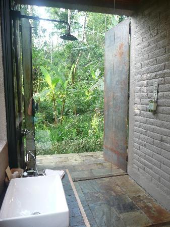 Hamadryade Lodge: la porte de la douche est ouverte