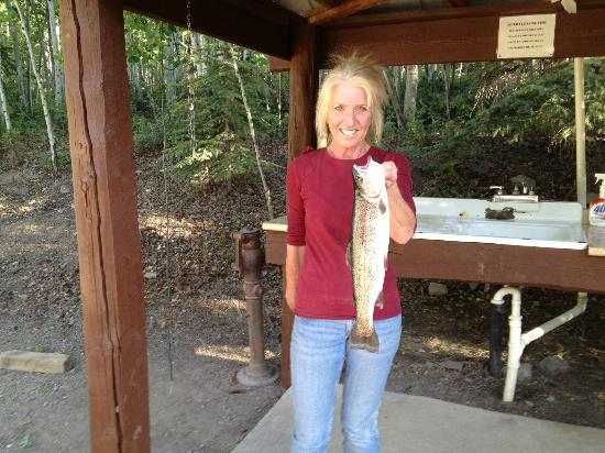 """Castle Lakes Campground & Cabins : 18.5"""" trout caught from their private lake."""