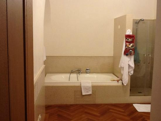 Our HUGE bathroom at Santarosa Relais, clean modern and great water pressure!