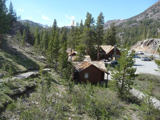 Tioga Pass Resort: view of TPR main building from motel room 1