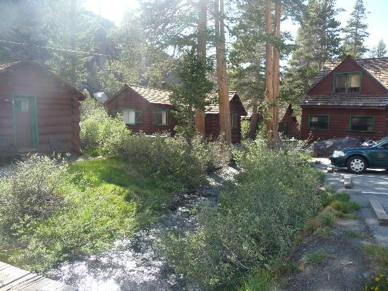 Tioga Pass Resort: view of creek between main building and cabins 2,3,4