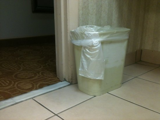 Holiday Inn Express Hotel & Suites Kinston:                                     white-out on both sides of trashcan