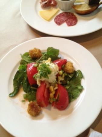 Ellerbe Fine Foods: Heirloom tomatos topped with a peach cheese