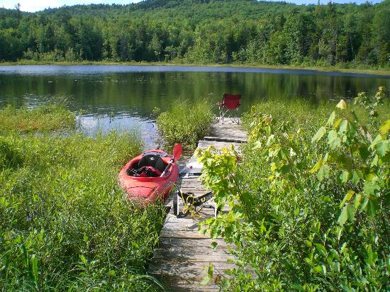 Washington, NH: Private dock and my kayak at campsite #1