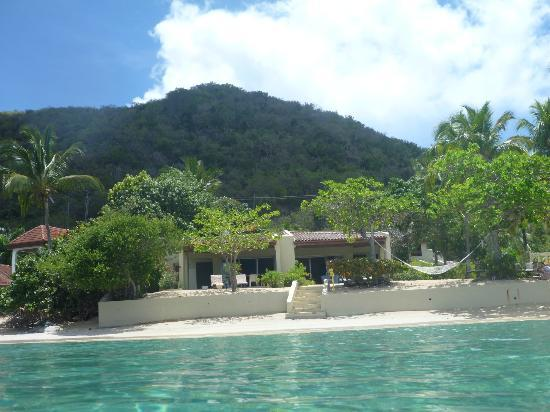 Mango Bay Resort: view of our beachfront villa from the water