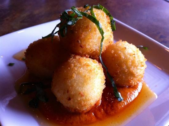 Over The Tapas: Goat cheese croquettes with romesco sauce