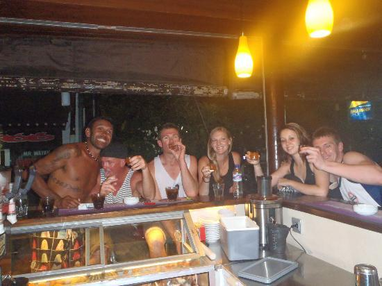Stakz Bar & Grill: Us with some Aussies we found at Stakz enjoying our complimentary shot thingys.