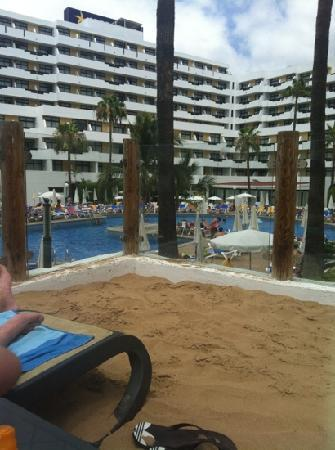 Iberostar Las Dalias: view of hotel from sun bed on sanded area