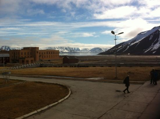 view from swimming pool at pyramiden