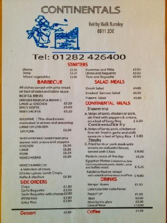 Burnley, UK: Menu for the New Continentals Restaurant Menu, opposite Continentals Cafe Bar Keirby Walk :)
