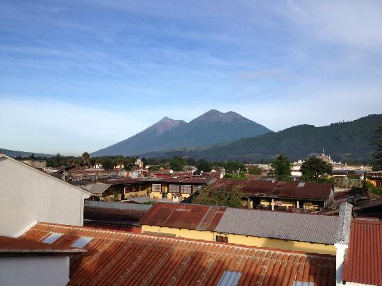 Hotel Panchoy: view of the fuego volcano from the roof