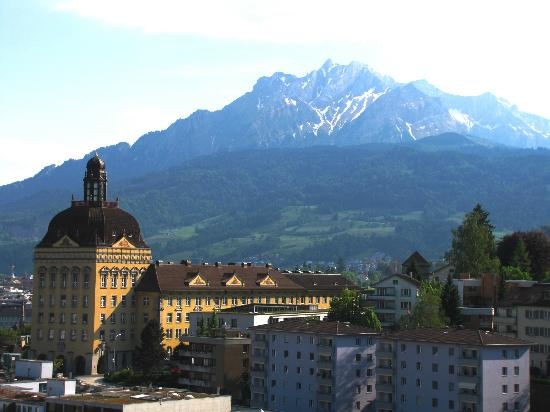 Gletschergarten: Insurance building and Mt Pilatus from watch tower