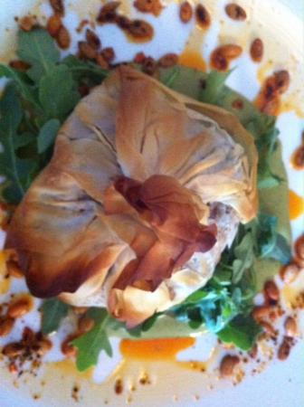 True Bistro: Phyllo purse, seitan, roasted winter squash, green mole, arugula, pepitas
