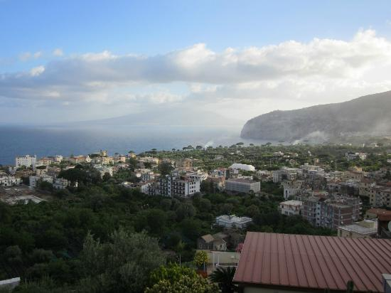 M Suites Sorrento: View from room toward Mt. Vesuvius (in clouds on this day)