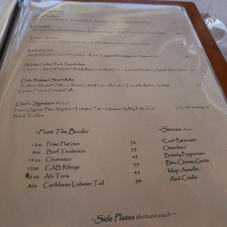 2nd page menu - picture of the dining room at little palm island