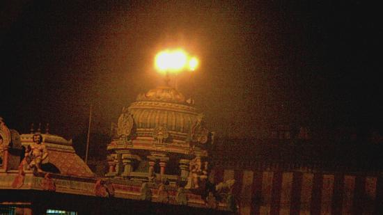 Thanjavur, India: Lighted Gopura.