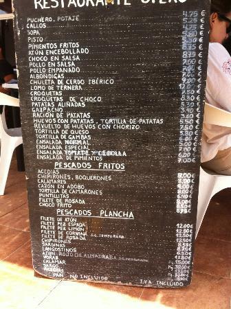 Playa de Bolonia: Precios en el chiringuito