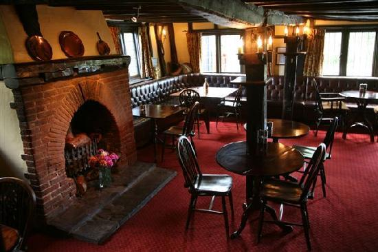 The Peldon Rose : The Main Bar, complete with log fire
