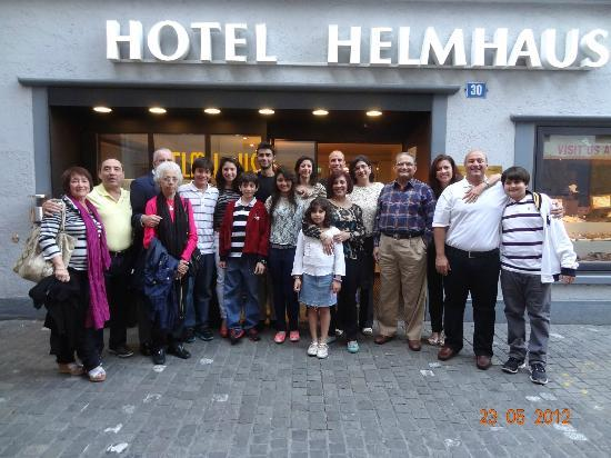 The whole family just outside Hotel Helmhaus