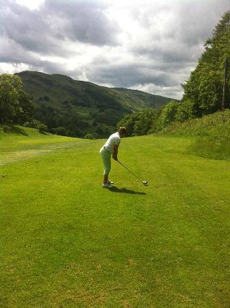 Killin Golf Club: Carol Goldie about to flush another drive down the 18th!