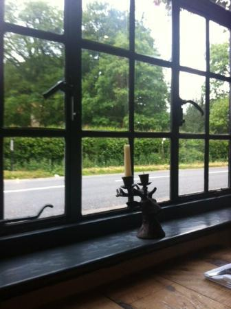 Purefoy Arms: View from the window - I slightly covet the stag head cast iron candlestick!