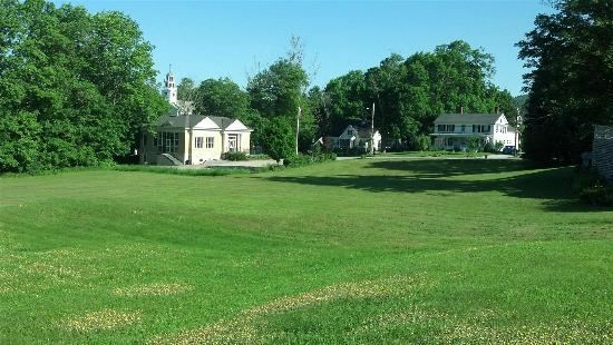 Greenfield Inn: View across lawn to the village